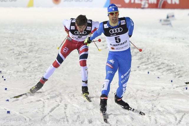 L'Italien Federico Pellegrino a été sacré champion du... (AFP, Jonathan Nackstrand)