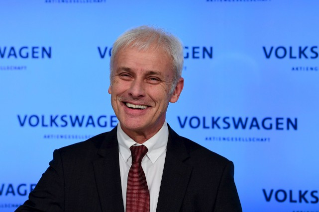 Le grand patron de Volkswagen, Matthias Mueller, était... (AFP, Tobias Schwarz)