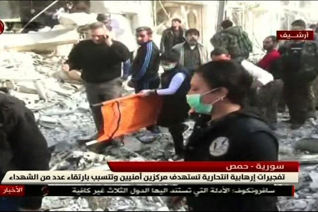 Dans cette image télévisée tirée du réseau Al-Ikhbariya... (IMAGE AFP/AL-IKHBARIYAH AL-SOURIYAH)