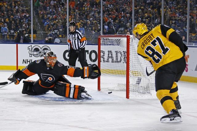 Sidney Crosby a inscrit son 34e but de... (Photo AP)
