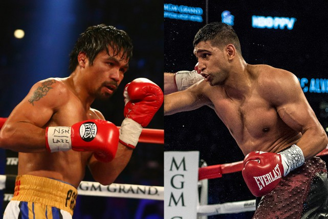 Manny Pacquiao et Amir Khan... (PHOTOS ARCHIVES USA TODAY)