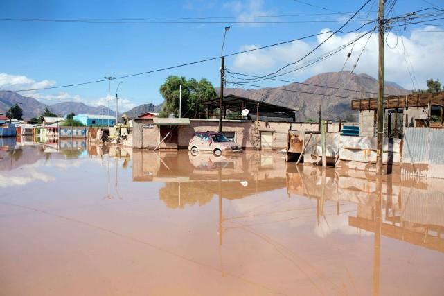 Une inondation en mars 2015 au Chili.... (Photo Pablo Sanhueza, archives Agence France-Presse)