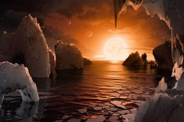 Cette illustration montre une possible surface deTRAPPIST-1f, l'une... (NASA/JPL-CALTECH)