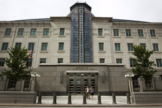 L'ambassade des États-Unis au Canada, située au490, promenade... (PHOTO BLOOMBERG)