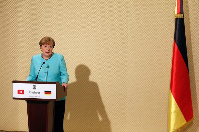 La chancelière allemande Angela Merkel en visite à... (Photo Zoubeir Souissi, REUTERS)