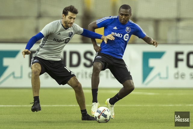 Ignacio Piatti et Chris Duvall à l'entraînement.... (Photo Robert Skinner, archives La Presse)