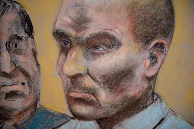 Alors qu'il était interrogé par les enquêteurs, au... (IllustrationMike McLaughlin, La Presse Canadienne)