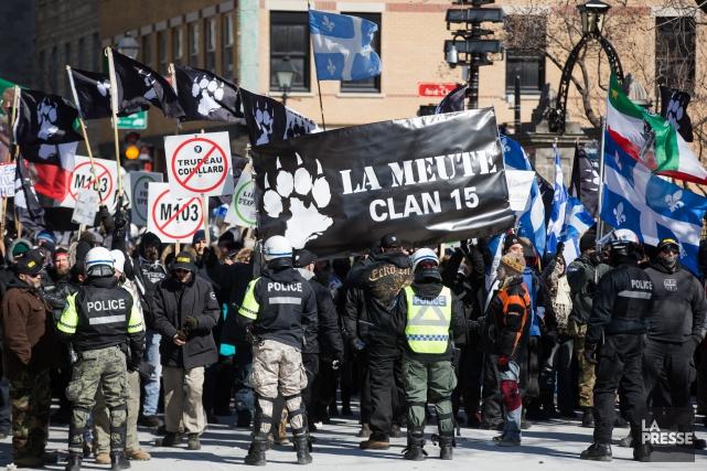 Les membres de l'organisation d'extrême-droite La Meute et... (Photothèque La Presse, Simon Giroux)