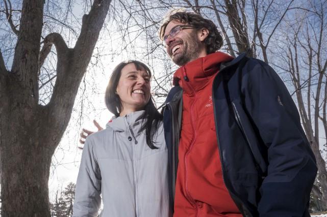 Catherine Allard et Marc-André Leclairgrimperont l'Acotango afin d'amasser... (Spectre média, René Marquis)