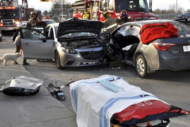 Une collision impliquant deux voitures a fait deux... (fournie par Marc Robitaille)