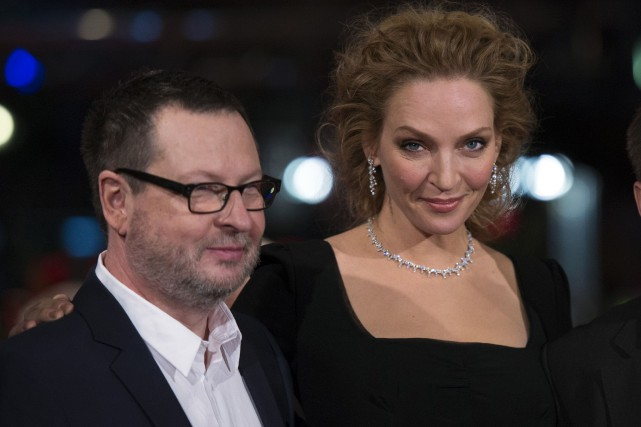 Lars von Trier et Uma Thurman... (Photo Johannes Eisele, archives AFP)