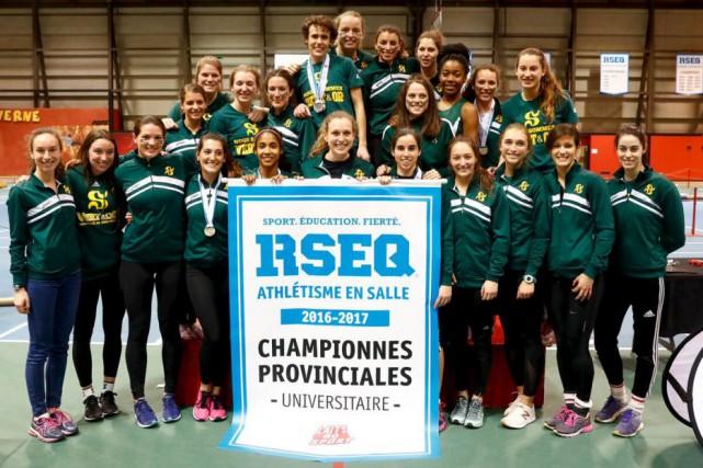 L'équipe féminine d'athlétisme du Vert & Or est... (Fournie par l'UdeS, Mathieu Bélanger)