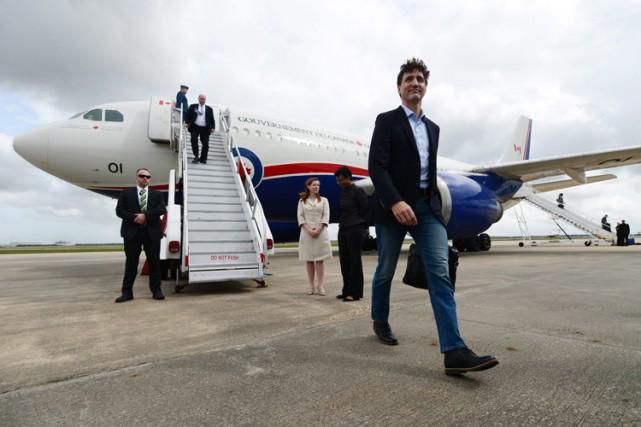 Justin Trudeau est arrivé jeudi à Houston.... (PHOTO PC)