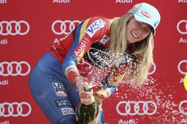 Après avoir remporté le slalom géant vendredi, l'Américaine... (AFP, Marcio Jose Sanchez)
