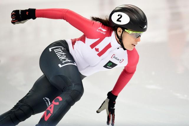 Au terme de la compétition, Marianne St-Gelais arrive... (Archives AFP)
