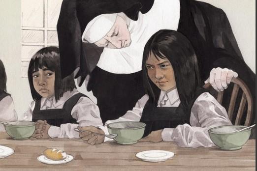 L'héroïne du livre pour enfants, Irene, mange son...