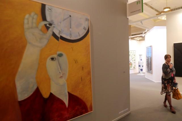 L'oeuvre Eyeing Time de l'artiste Ahmed Morsi... (AFP, Karim Sahib)