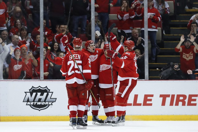 Le but de Dylan Larkin était un quatrième en... (PHOTO Paul Sancya, AP)