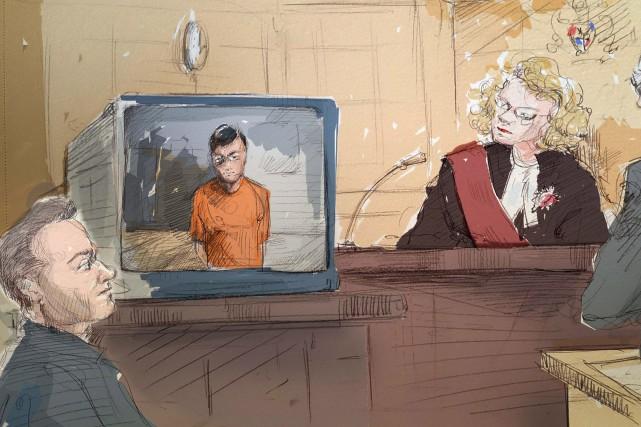Karim Baratov a comparu brièvement par vidéoconférence à... (Dessin fournie par La Presse canadienne)