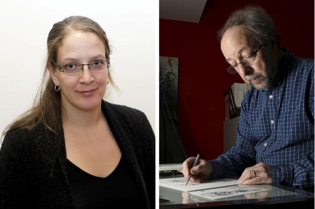 La journaliste Justine Mercier et Guy Badeaux...