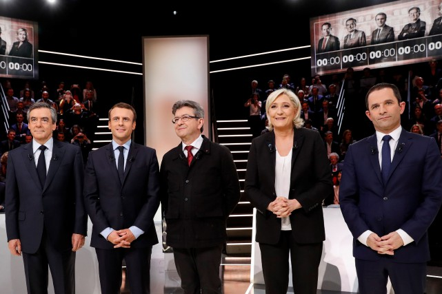 François Fillon, Emmanuel Macron, Jean-Luc Mélenchon, Marine Le... (Photo Patrick Kovarik, archives Agence France-Presse)
