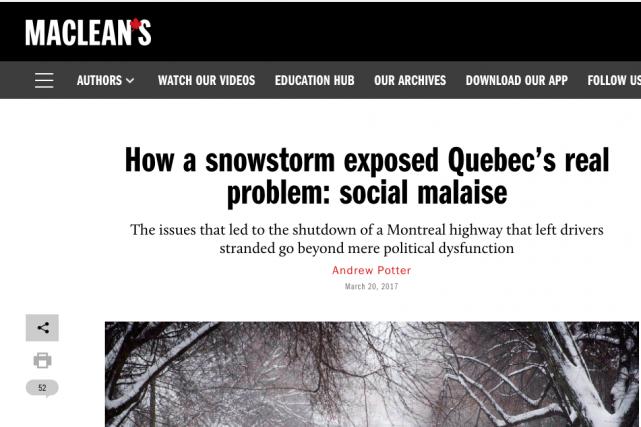 L'article d'Andrew Potter, publié dans le Maclean's, peu... (Image tirée du site web de Maclean's)
