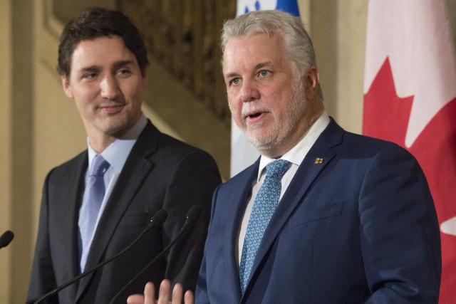 Justin Trudeau, premier ministre canadien, et Philippe Couillard,... (Archives, La Presse canadienne)