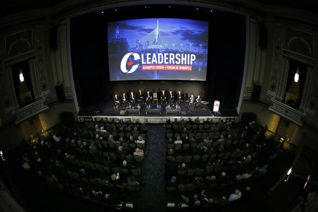 From left Maxime Bernier, Andrew Scheer, Andrew Saxton,... (Photo John Woods, La Presse canadienne)