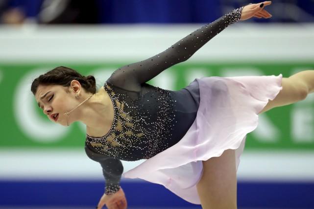La Russe Evgenia Medvedeva, 17 ans, semble totalement... (Archives AP, Petr David Josek)