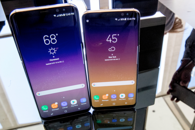 The Samsung Galaxy S8, right, and S8 Plus... (AP, Mary Altaffer)