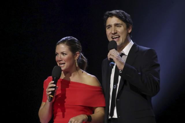 Justin Trudeau et sa femme Sophie Grégoire-Trudeau ont... (AFP, Lars Hagberg)