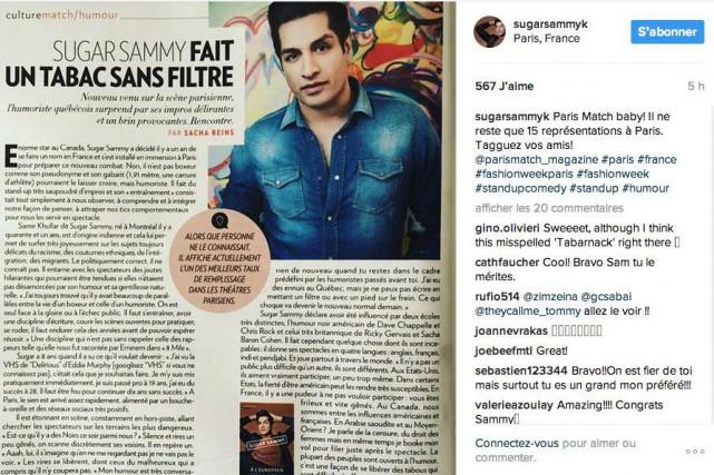 Parti à la conquête du public français il y a un an, Sugar Sammy semble... (Image tirée d'Instagram)