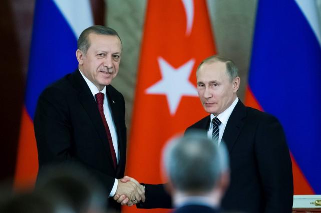 Recep Tayyip Erdogan etVladimir Poutine se sont rencontrés... (PHOTO AFP)