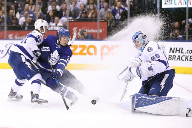 Frederik Andersen a accordé quatre buts sur 30... (PHOTO Tom Szczerbowski, USA TODAY Sports)