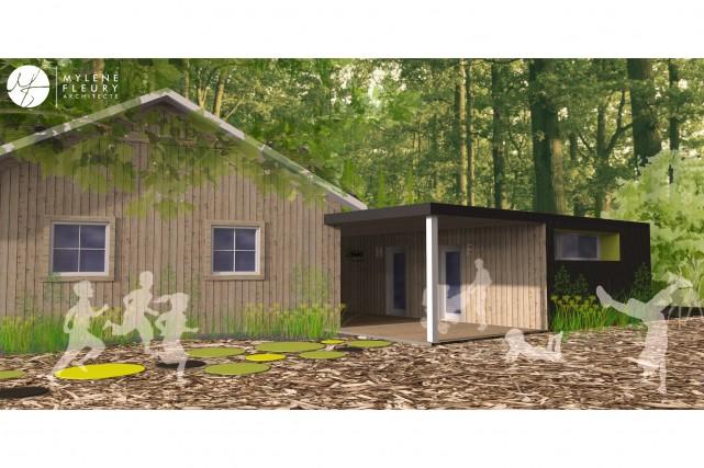 Le bloc sanitaire sera recouvert d'acier noir et... (Fournie par l'architecte Mylène Fleury)