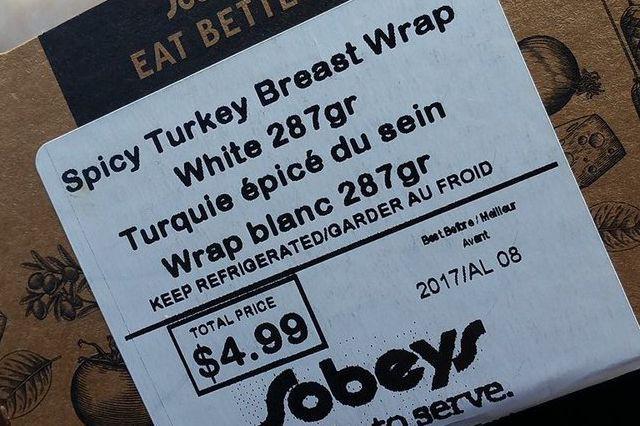 Les sandwichs dont l'étiquette contenait cette mauvaise traduction... (Tirée du compte Facebook de Kevin De Nazareth)