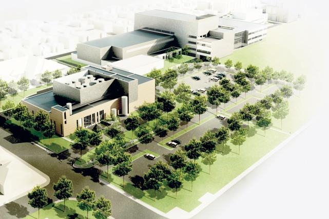 Une maquette du méga-hôpital qui commencera à être...