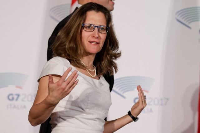 La ministre canadienne des Affaires étrangères, Chrystia Freeland,... (Photo Max Rossi, Reuters)