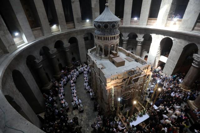 La tradition chrétienne situe au Saint-Sépulcre les derniers... (Photo Ammar Awad, REUTERS)
