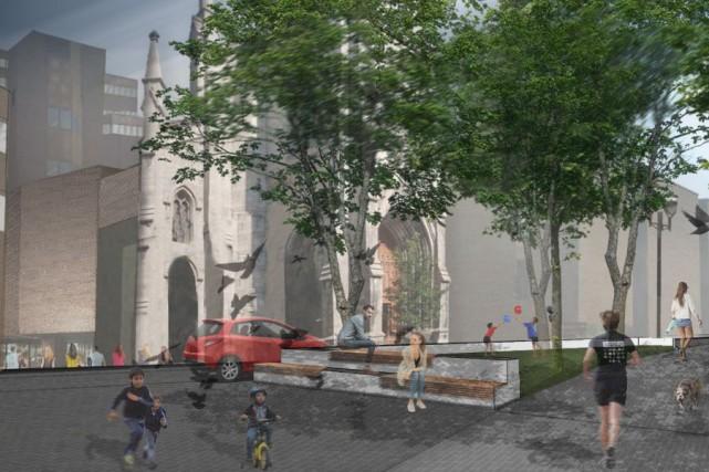 La vue du clocher Saint-Jacques depuis la place... (PHOTO FOURNIE PAR LA VILLE DE MONTRÉAL)