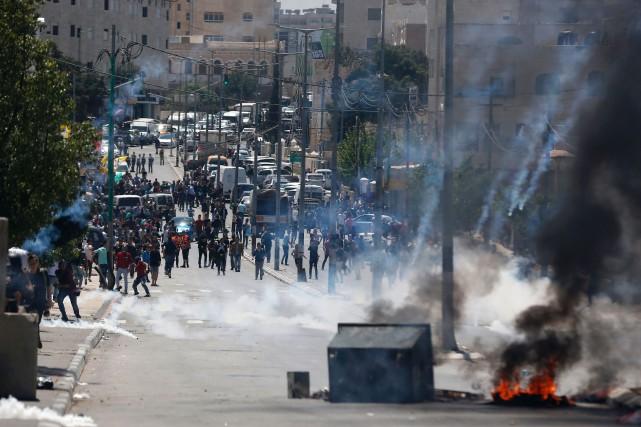 Des manifestations de solidarité envers les prisonniers palestiniens... (PHOTO AFP)