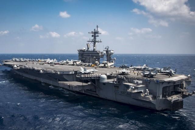 Le porte-avionsCarl Vinson... (AFP)