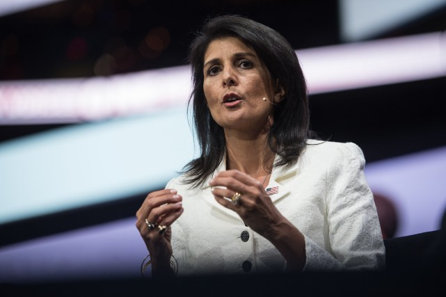 L'ambassadrice américaine à l'ONU, Nikki Haley, a qualifié... (Photo Nicholas Kamm, archives Afp)