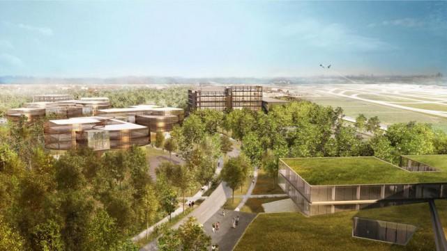 L'Éco-campus Hubert-Reeves sera aménagé en bordure d'un parc-nature... (ILLUSTRATION FOURNIE PARTECHNOPARC MONTRÉAL)