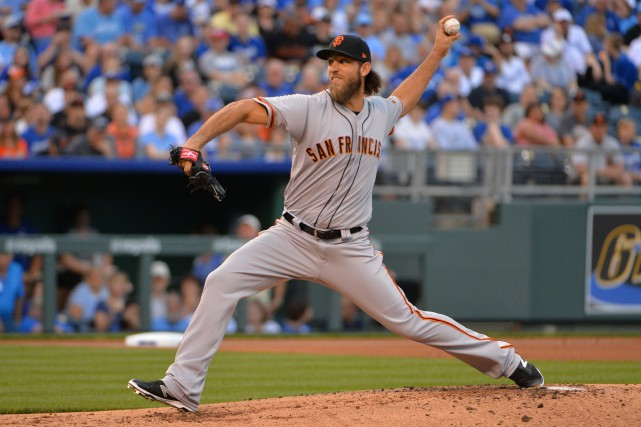 Madison Bumgarner a subi un accident de vélo tout... (Photo Denny Medley, USA TODAY Sports)