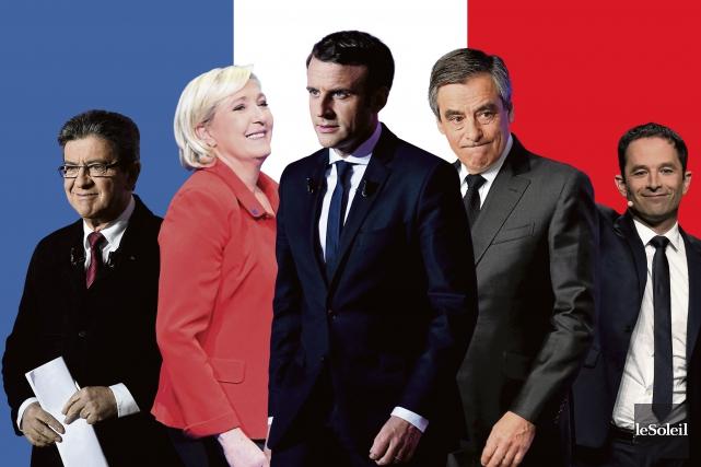 Jean-Luc Mélenchon, Marine Le Pen, Emmanuel Macron, François... (Infographie Le Soleil)