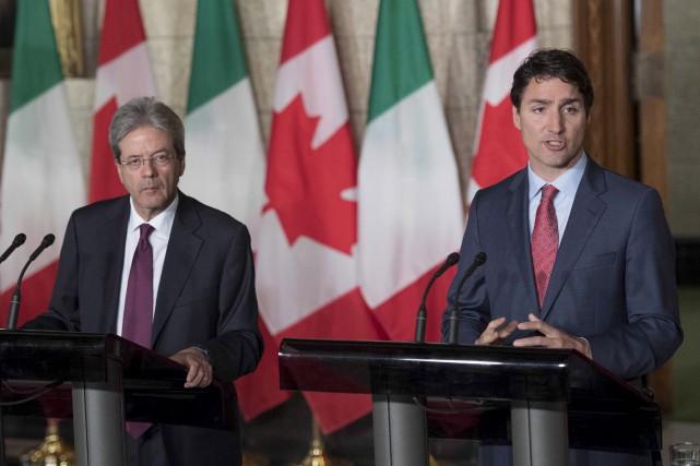 Justin Trudeau a affirmé qu'il continuera de défendre... (Photo Presse canadienne)