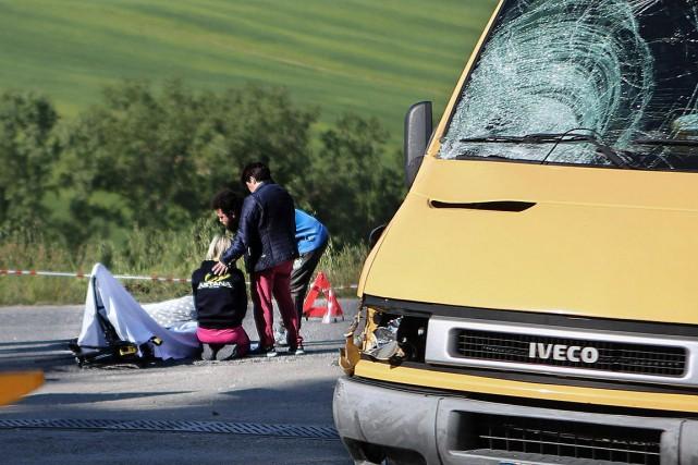 Michele Scarponi a perdu la vie après avoir... (Photo Cristian Ballarini, AP/ANSA)