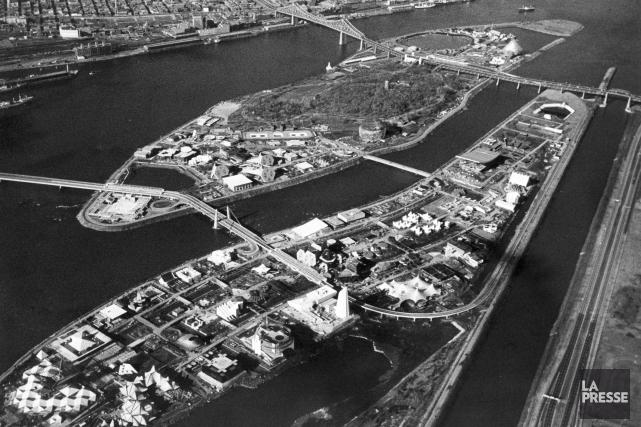 Vue aérienne du site d'Expo 67, qui a... (Archives La Presse)