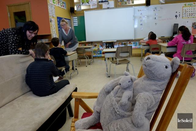 La nouvelle classe Kangourou de l'école l'Aquarelle accueille... (Le Soleil, Erick Labbé)